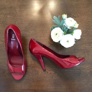 Bakers Peep Toe Red Patent Leather Heels, Size 8